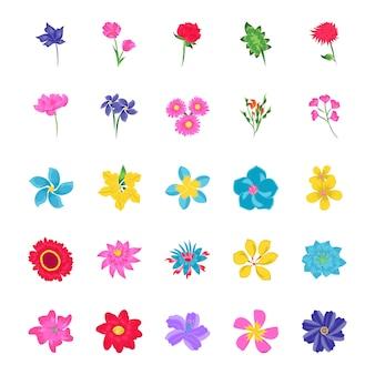 Ícones florais vetoriais plana