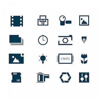 Ícones fotografia logo templates vetor