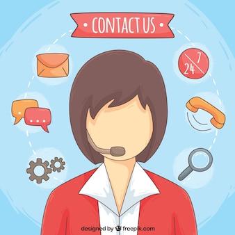 Ícones fundo callcenter e comunicação