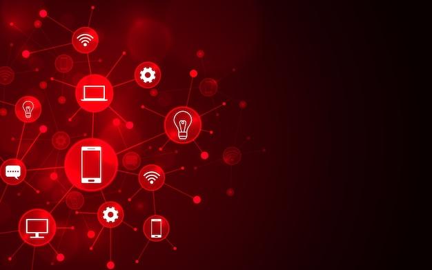 Ícones futuristas abstratos no fundo vermelho.