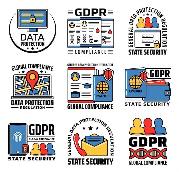 Ícones gdpr, segurança de proteção de dados pessoais