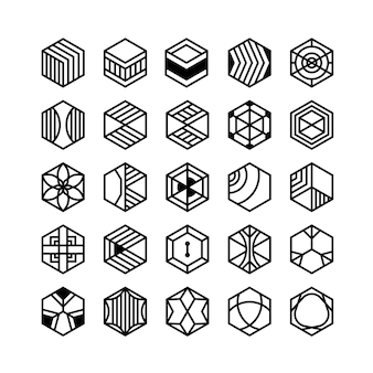 Ícones geométricos de hexágono