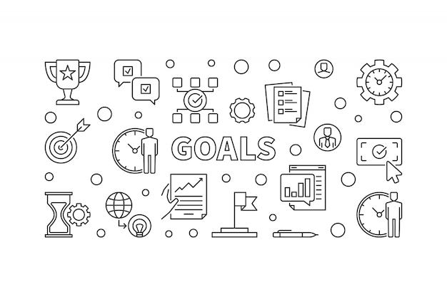 Ícones horizontais de objetivos no estilo de estrutura de tópicos. bandeira