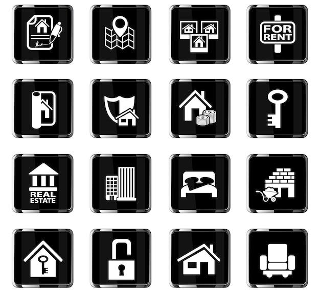 Ícones imobiliários da web para design de interface de usuário