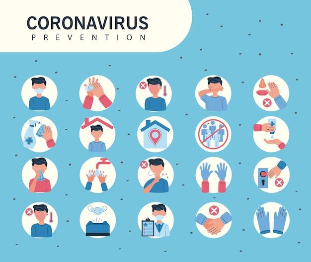 Ícones informativos da prevenção covid19