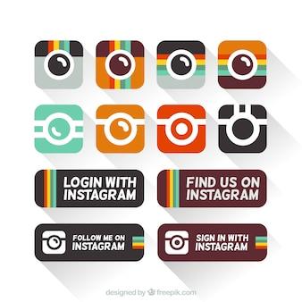 Ícones instagram em design plano