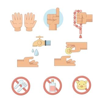 Ícones islâmicos com as mãos e ícones de proibição.