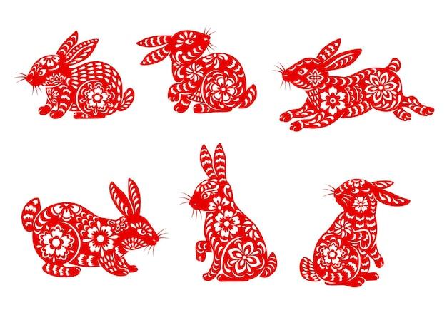 Ícones isolados de coelho chinês do ano novo lunar com animais do zodíaco asiático
