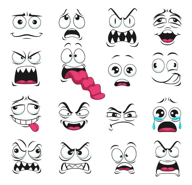 Ícones isolados de expressão de rosto de desenho animado