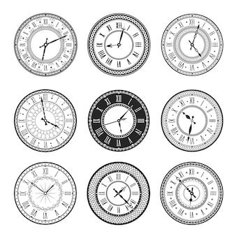 Ícones isolados de mostrador de relógio vintage de relógios antigos com mostradores redondos em preto e branco