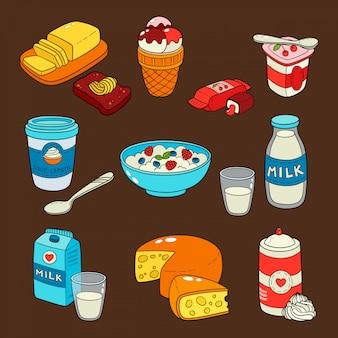 Ícones isolados de produtos lácteos de leite.