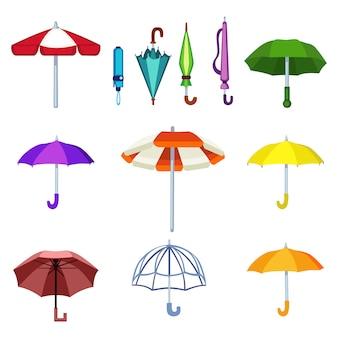 Ícones isolados vetor de guarda-chuva