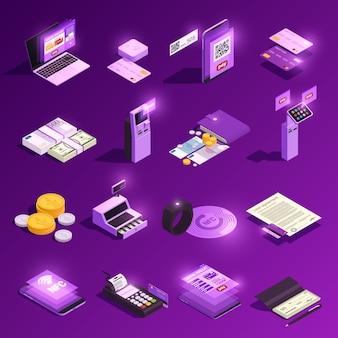 Ícones isométricos brilhantes de métodos de pagamento