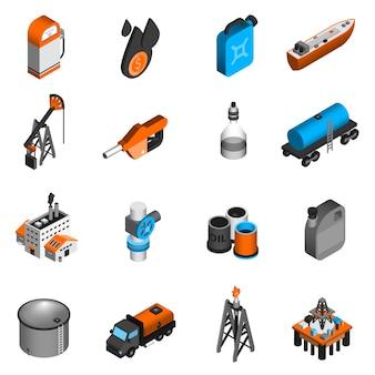 Ícones isométricos da indústria do petróleo