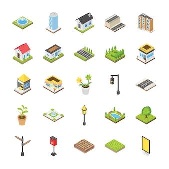 Ícones isométricos da paisagem urbana