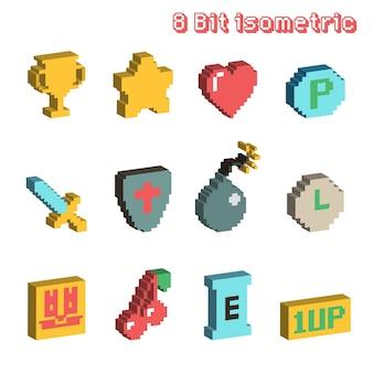 Ícones isométricos de 8 bits