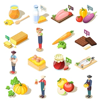 Ícones isométricos de alimentos orgânicos