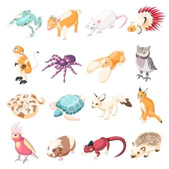 Ícones isométricos de animais exóticos
