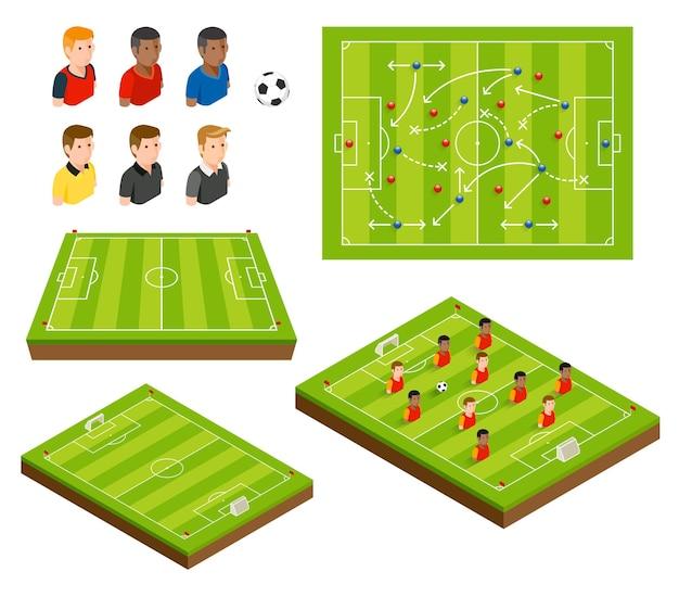 Ícones isométricos de campo de futebol de futebol e jogador de futebol