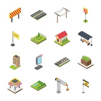 Ícones isométricos de citylife