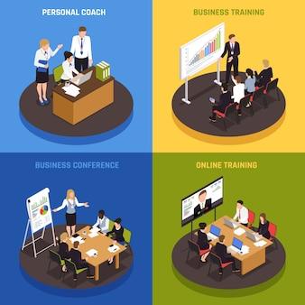 Ícones isométricos de coaching de negócios conjunto com símbolos de estratégia e sucesso isolados