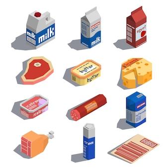 Ícones isométricos de comida de fazenda