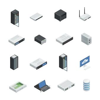 Ícones isométricos de computação em nuvem servidor datacenter conjunto com imagens isoladas