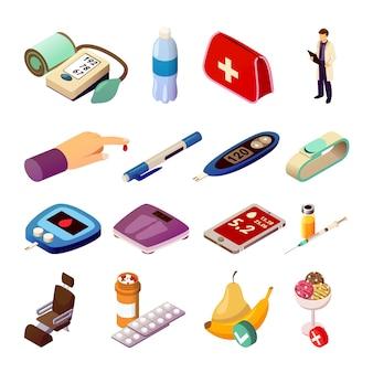 Ícones isométricos de controle de diabetes