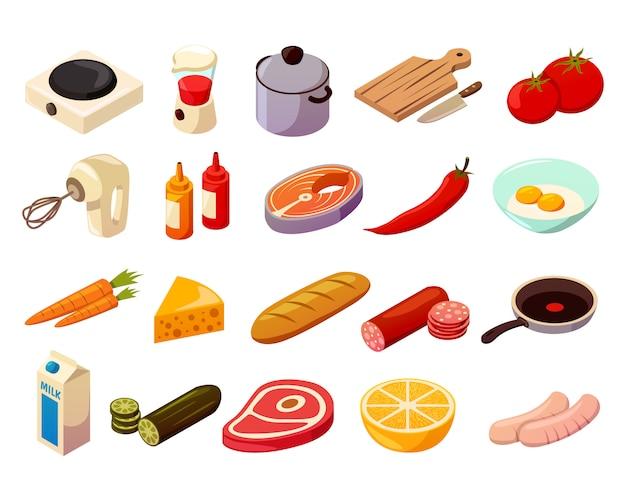 Ícones isométricos de culinária de comida