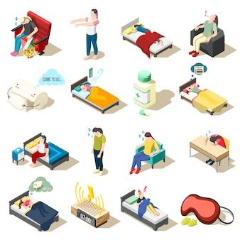 Ícones isométricos de distúrbio do sono
