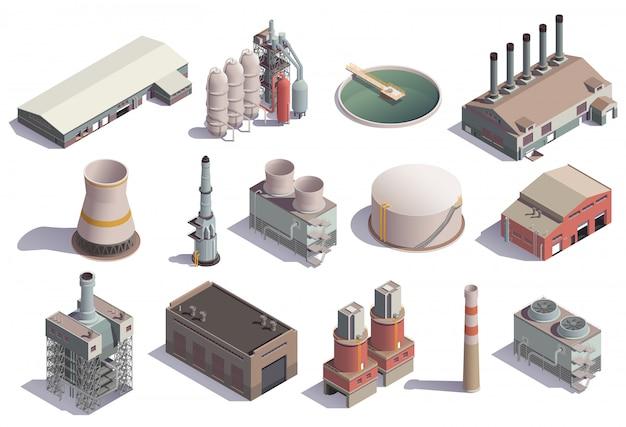Ícones isométricos de edifícios industriais conjunto com imagens isoladas de instalações da fábrica para diferentes fins, com sombras
