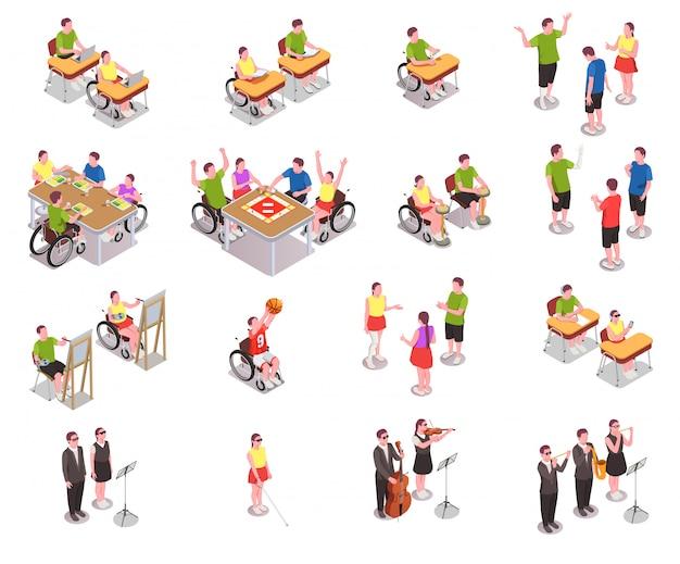 Ícones isométricos de educação inclusiva definida com pessoas com deficiência em diferentes situações na escola isolada no branco 3d