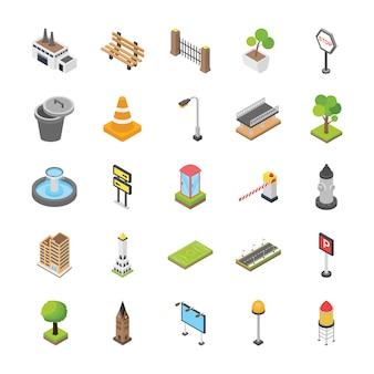 Ícones isométricos de elementos da cidade