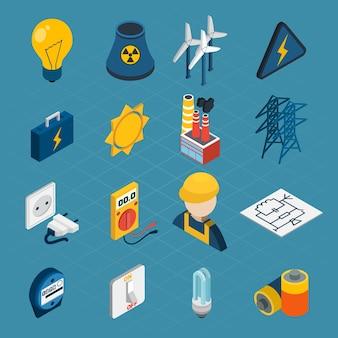 Ícones isométricos de eletricidade