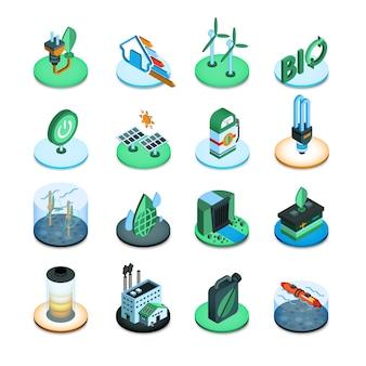 Ícones isométricos de energia verde