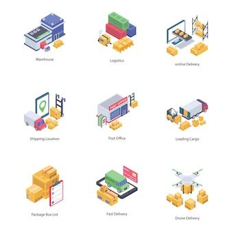 Ícones isométricos de entrega logística
