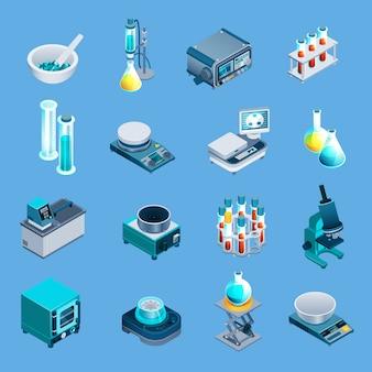 Ícones isométricos de equipamento de laboratório