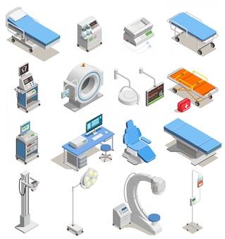 Ícones isométricos de equipamento médico