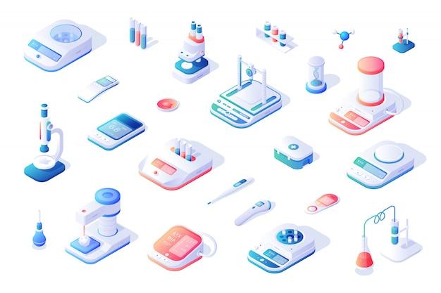 Ícones isométricos de equipamentos e dispositivos médicos contemporâneos