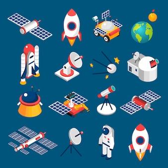 Ícones isométricos de espaço