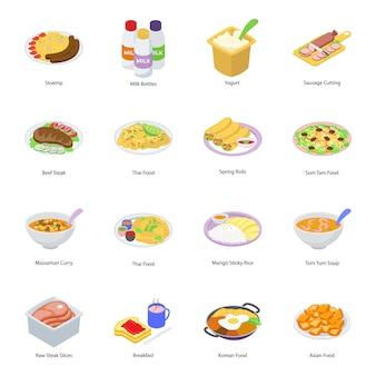Ícones isométricos de fast-food