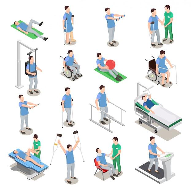 Ícones isométricos de fisioterapia