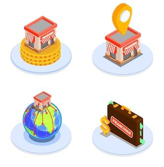 Ícones isométricos de franquia e finanças definidos com ilustração de símbolos de plano de negócios