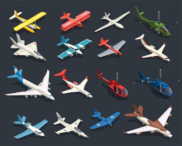 Ícones isométricos de helicópteros de aviões