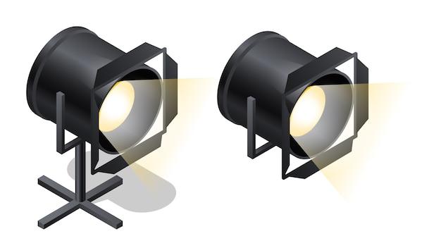Ícones isométricos de holofotes de palco, vetor de desenhos animados