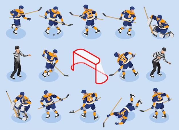 Ícones isométricos de hóquei no gelo conjunto com jogadores de defesa encaminha o goleiro goleiro árbitro de disco na pista