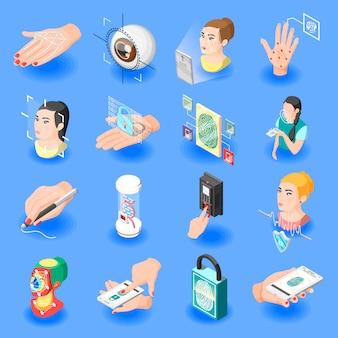 Ícones isométricos de identificação biométrica