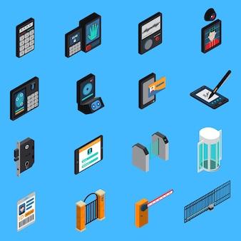 Ícones isométricos de identificação de acesso