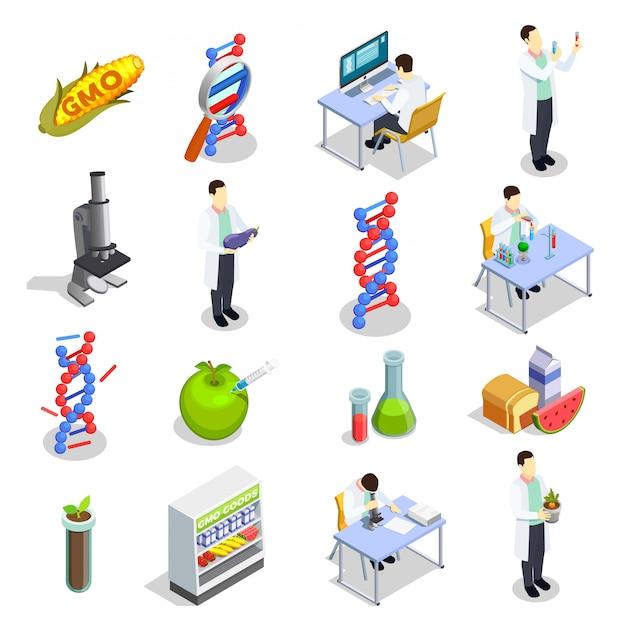 Ícones isométricos de organismos geneticamente modificados