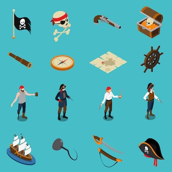 Ícones isométricos de piratas